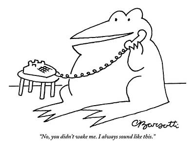 Frog Drawing - A Frog Answers The Telephone by Charles Barsotti