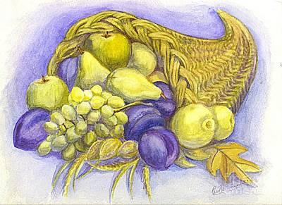Culinary Drawing - A Fruitful Horn Of Plenty by Carol Wisniewski