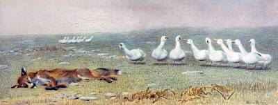 Geese Drawing - A Game Of Fox And Geese, 1868 by Briton Riviere
