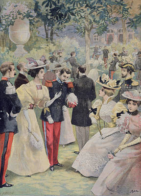 Chaperone Painting - A Garden Party At The Elysee by Fortune Louis Meaulle