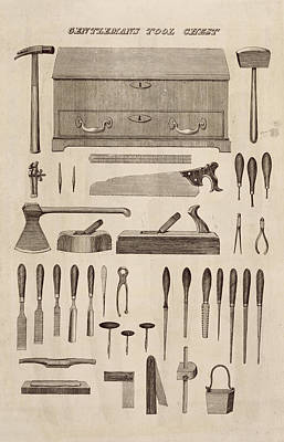 Hammer Drawing - A Gentlemans Tool Chest by English School