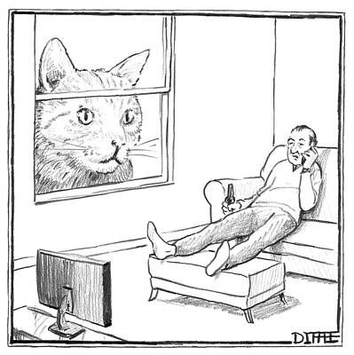A Giant Cat Peers Into A Window As A Man Watches Print by Matthew Diffee