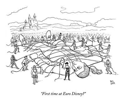 Masochism Drawing - A Giant Man Is Tied Down By Many Men And Women by Paul Noth