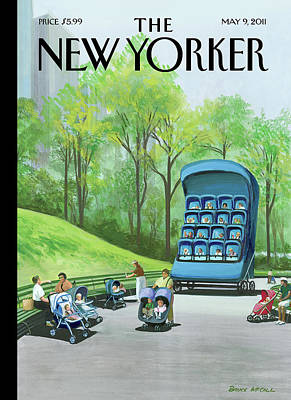 Stroller Painting - A Giant Stroller With 16 Babies In It Sits by Bruce McCall