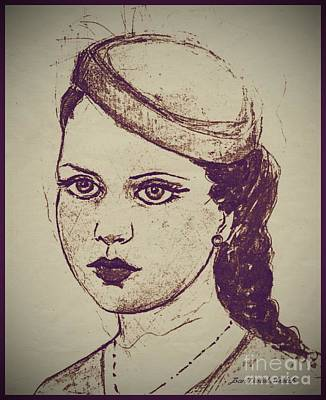 A Girl In A Pill Box Hat Print by Joan-Violet Stretch