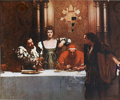Borgia Painting - A Glass Of Wine With Caesar Borgia by Philip Ralley