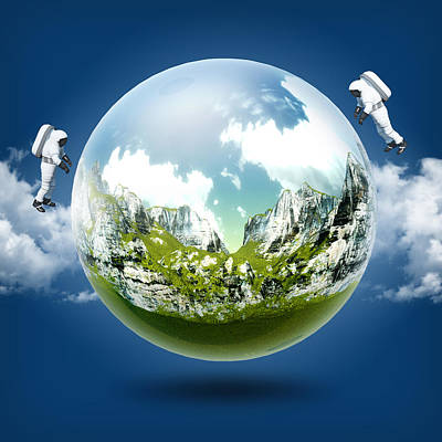 A Glass Transparent Ball Mountains Inside It With Astronaut On Blue Sky Original by Thanes