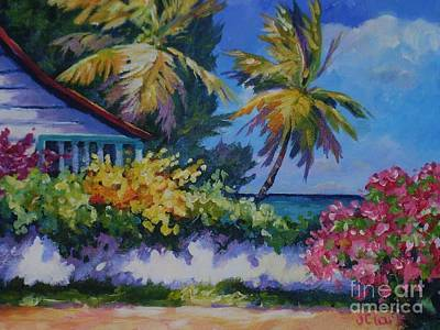 St Lucia Painting - A Glimpse Of The Sea by John Clark
