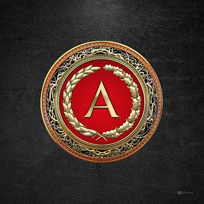 Regalo Digital Art - A - Gold Vintage Monogram On Black Leather by Serge Averbukh