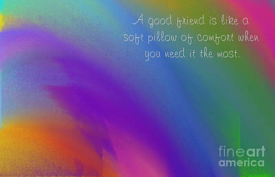 A Good Friend Poem And Abstract Square 4  Print by Andee Design