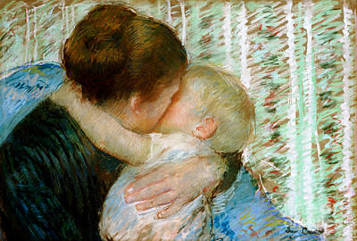 Mother Painting - A Goodnight Hug  by Mary Stevenson Cassatt