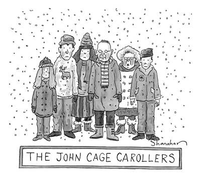 Cage Drawing - A Group Of Carolers Stands In The Snow by Danny Shanahan