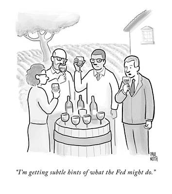 A Group Sample Wine At A Wine Tasting Vineyard Print by Paul Noth