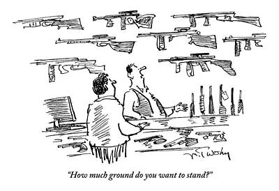 A Guns Salesman Speaks To A Customer. How Much Print by Mike Twohy