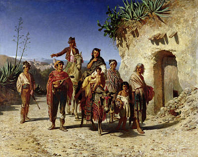 Bohemian Photograph - A Gypsy Family On The Road, C.1861 Oil On Canvas by Achille Zo