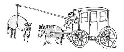 Carrot Drawing - A Handsome Cab Driver Dangles A  Horse In High by Edward Steed