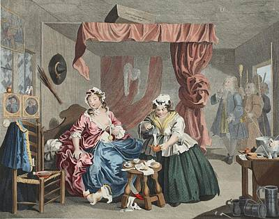 Prostitutes Drawing - A Harlots Progress, Plate Lll by William Hogarth