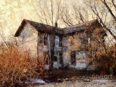 Haunted House Photograph - A Haunting Melody - Old Farmhouse by Janine Riley