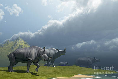 A Herd Of Brontotherium Dinosaurs Come Print by Corey Ford