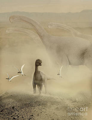 Mix Medium Digital Art - A Herd Of Camarasaurus Dinosaurs by Jan Sovak
