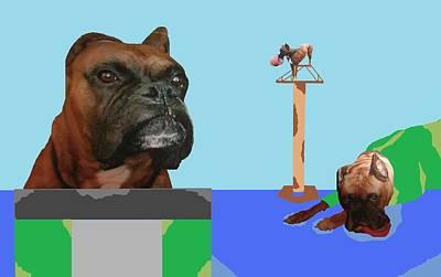 Boxer Digital Art - A High Climbing Boxer by Joan Shortridge