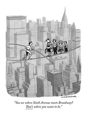 Tightrope Drawing - A High-rise Tightrope Walker Above New York City by Joe Dator
