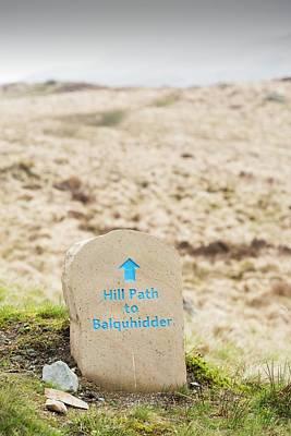 A Hill Path Sign Below Ben Vane Print by Ashley Cooper