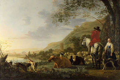 Aelbert Cuyp Painting - A Hilly Landscape With Figures by Aelbert Cuyp