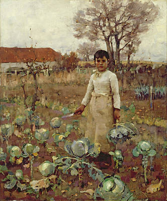 Cabbage Photograph - A Hinds Daughter, 1883 Oil On Canvas by Sir James Guthrie