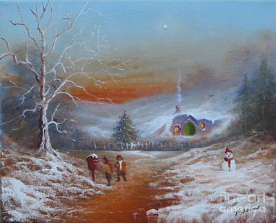 Tolkien Painting - A Hobbits Yuletide by Joe  Gilronan