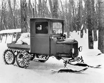 Snowmobile Photograph - A Homemade Snowmobile by Underwood Archives
