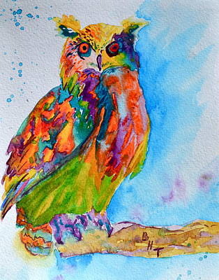 Colorful Owl Painting - A Hootiful Moment In Time by Beverley Harper Tinsley