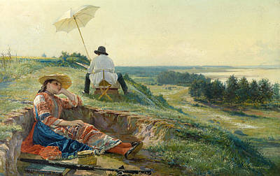 A Hot Summer Day Painting - A Hot Summer Day. The Artist At Work by Vasili Andreyevich Golynsky
