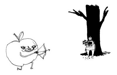 Tell Drawing - A Huge Apple Creature With A Bow And Arrow Shoots by Edward Steed