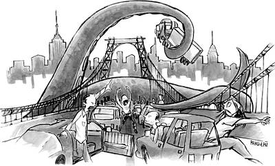 Octopus Drawing - A Huge Octopus Tentacle Wraps Over A Brigde by Corey Pandolph