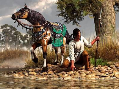 Bison Digital Art - A Hunter And His Horse by Daniel Eskridge