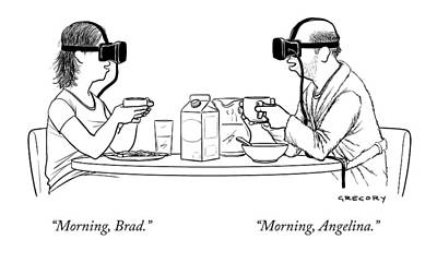 Movie Star Drawing - A Husband And Wife At The Breakfast Table Both by Alex Gregory