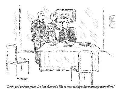 A Husband And Wife Speak To A Marriage Counselor Print by Robert Mankoff