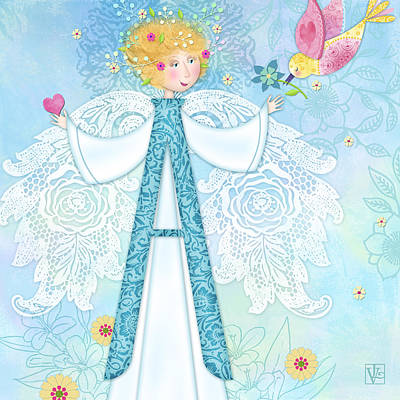 A Is For Angel Print by Valerie Drake Lesiak