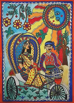 Madhubani Painting - A Journey By Rickshaw by Shakhenabat Kasana