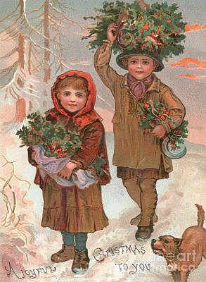 Christmas Cards Painting - A Joyful Christmas To You   Victorian Christmas Card  by English School