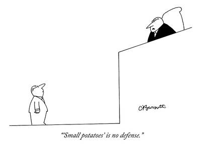 Potato Drawing - A Judge Stares Down At A Defendant In A Courtroom by Charles Barsotti
