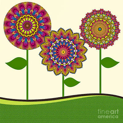 A Kaleidoscope Of Flowers Print by Amy Cicconi