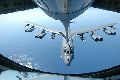 Stratotanker Photograph - A Kc-135 Stratotanker Refuels A B-52 by Celestial Images