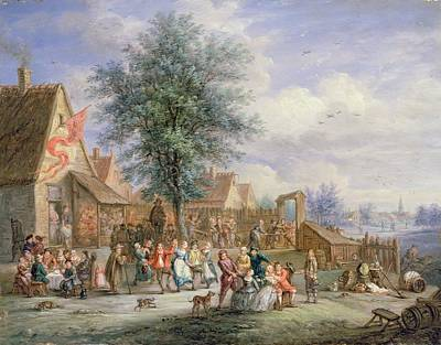 St. George Painting - A Kermesse On St. Georges Day by Angel-Alexio Michaut