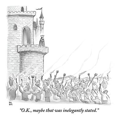 A King Addresses An Angry Mob Storming The Castle Print by Paul Noth