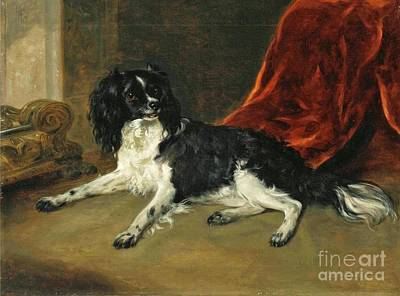 Purebred Painting - A King Charles Spaniel By A Fireplace by Richard Ramsay Reinagle