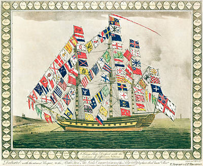 A King S Ship Dressed With The Colours Of Different Nations 6th October 1794 Print by English School