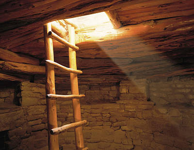 A Kiva Ladder And Sun Rays In A Kiva Print by Panoramic Images
