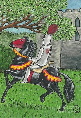 Knights Castle Painting - A Knight And His Steed -- Back From The Conquest by Sherry Goeben